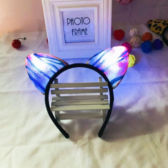 Boy Girls Woman Glow Fox Cat Hair Band Animal Ear Leopard LED Headbands Hair Accessory Prom Party Cosplay Halloween
