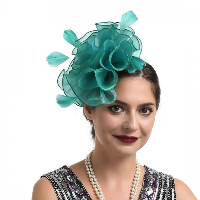 Women Wedding Party Feather Mesh Fascinator Hat Headdress Hair Clip Accessories
