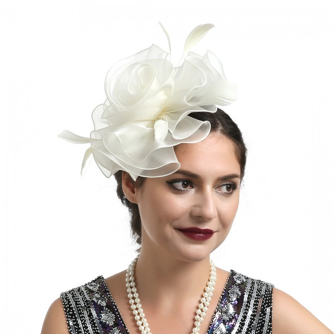 Women Wedding Party Feather Mesh Fascinator Hat Headdress Hair Clip Accessories