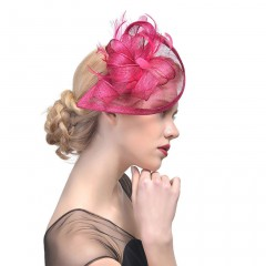Women Wedding Hat Fascinator Feather Mesh Party Cocktail Headdress Hair Clip