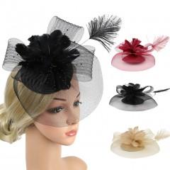 Accessory Feather Flower Pillbox Hat Hair Clip Headband Party Headdress New Fashion Design