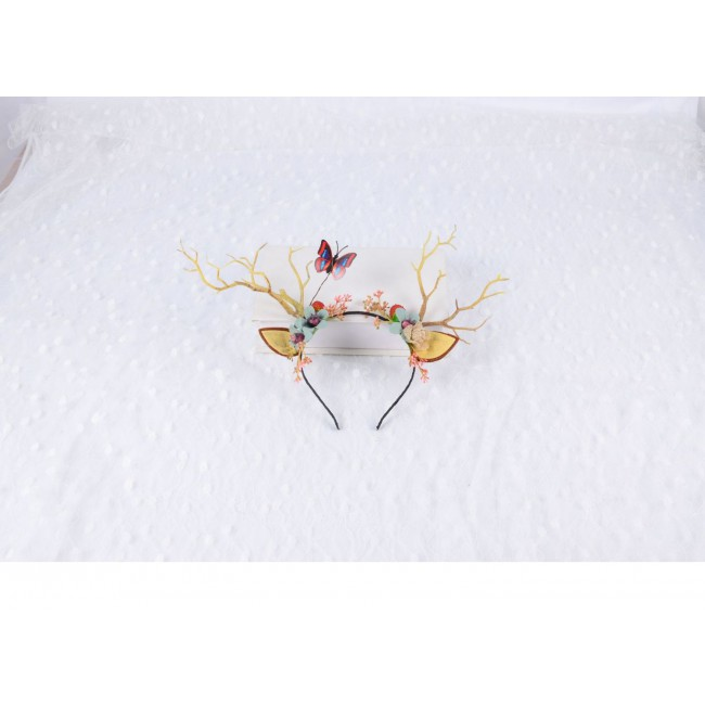 Women Girls Christmas Fairy Tale Reindeer Antler Headband Cat Ear Hair Hoop Headdress Festival Party Props