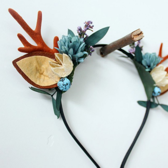 Christmas Deer Antlers Horn Headband Women Girls Cat Ear Hair Hoop Headdress Fairy Costume Headpiece Festival Party Props