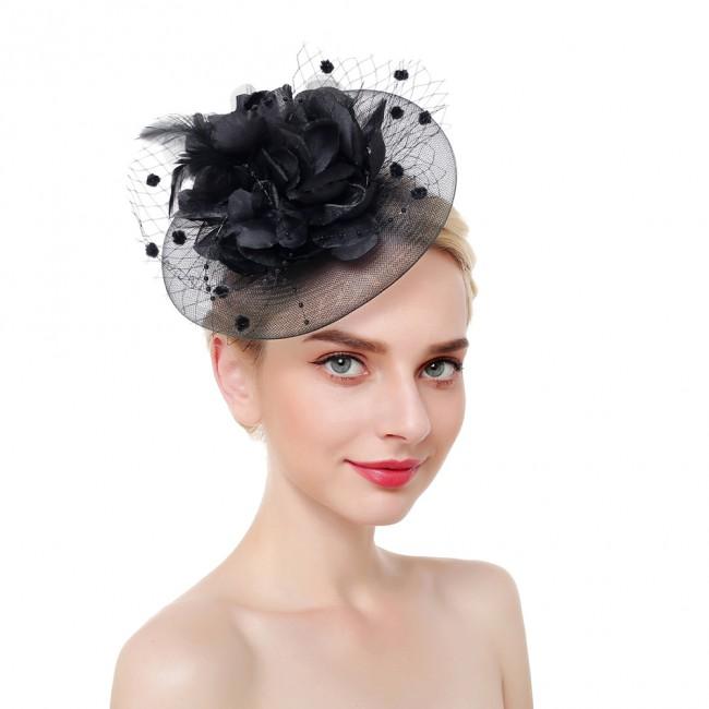 Girls Wedding Cocktail Flower Mesh Feathers Hair Clip Headband Hairband For Wedding Party Headdress