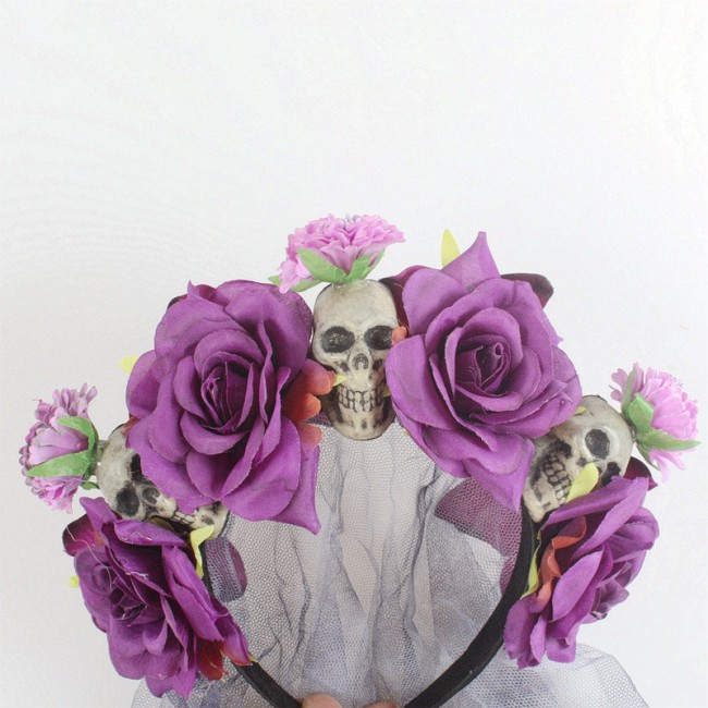 New Style Halloween Dressing up Skull Hair Bands Artificial Rose Flower Head Buckle Halloween Party Headdress