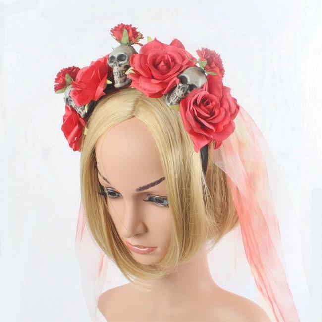 New Style Halloween Dressing up Skull Hair Bands Artificial Rose Flower Head Buckle Halloween Party Headdress