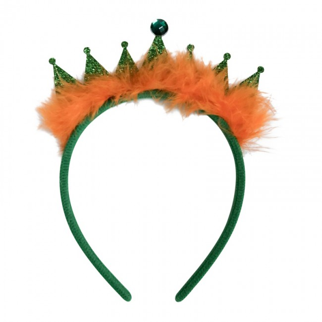 Crown Tiara with Feather Headdress Green Crown Headband Party Supplies