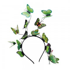 Women Girls Fairy Fascinator Headband Colorful Butterflies Photo Party Hair Hoop