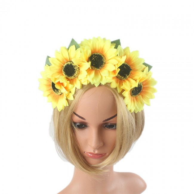 Large Sunflower HairBand Bohemian Gradient Festival Wreath Stretch Headband Yellow Flower Crown Floral Sea Party Hoop