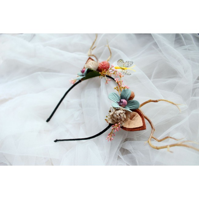 Women Girls Christmas Fairy Tale Flower Headband Retro Tree Branch Deer Ears Antler Hair Hoop Crown Festival Party Props