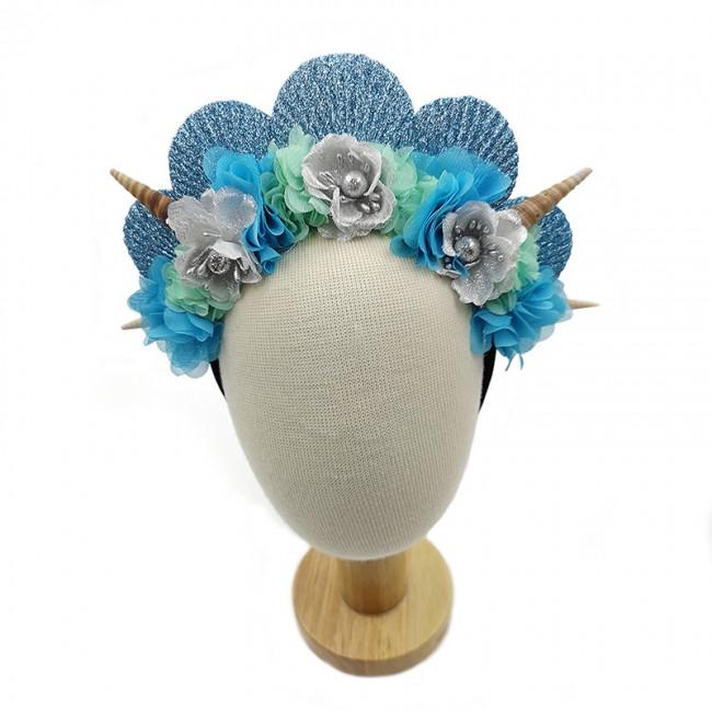 Aquarium shell hair band Beach chiffon starfish headband Children flower mermaid Girls hair accessories For party