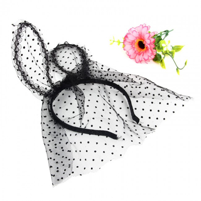 1pc Headband Sexy Lace Veil Mask Bunny Dot Cat Ears Hairband Headdress for Costume Party
