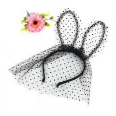 1pc Headband Sexy Lace Veil Mask Bunny Dot Cat Ears Hairband Headdress for Costume Party