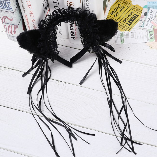 Fashion Night Party Club Bar Wearing Decorate Headbands Cat Fox Fur Ear Pattern Hair Clip Bell Cat Ear Hair Clips