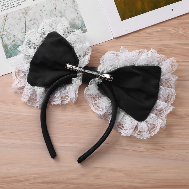 Women Girls Gothic Cosplay Maid Lace Big Bowknot Barrette Hairband Hairhoop Headwear Hair Accessories for Halloween Costumes Party