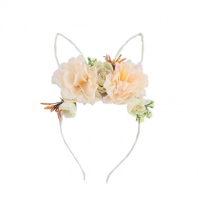 Fashion Women Chiffon Floral Bowknot Braid Headbands Girl Rabbit Ears Hairband Elastic Party Hair Accessories