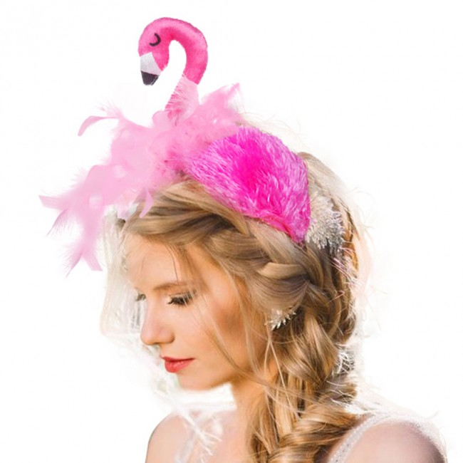 Cute Flamingo Head Hoop Women Hair Hoop Hair Accessories Fashion Hair Bands Headdress Party Cosplay Headwear