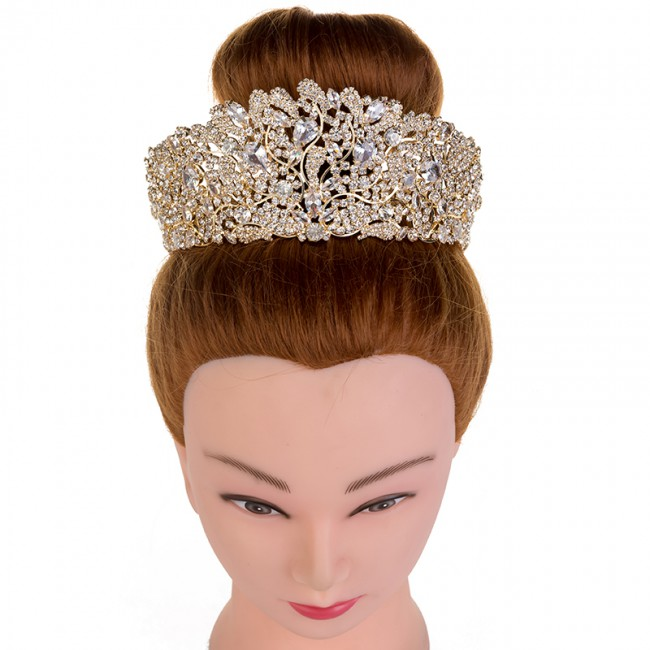 Fashion Stunning Copper Cubic Zirconia Crown Wedding Tiara Hotsale Bridal Queen Princess Pageant Party Crowns
