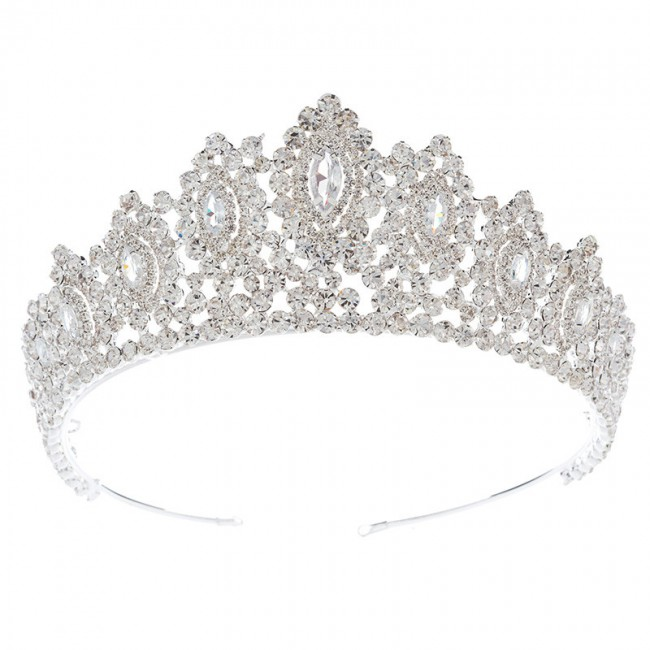 Luxury Rhinestone Bridal Jewelry Tiaras And Crown Shiny Cubic Zircon Glamour Princess Crown Wedding Prom Copper