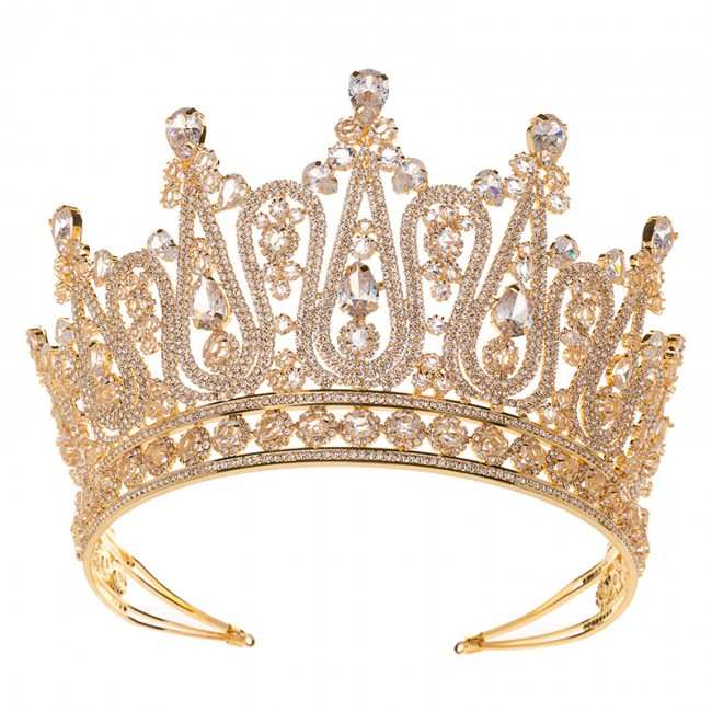 Luxury Large Crown Wedding Pageant Tiara Hair Jewelry Headband Bridal Crowns For Lady
