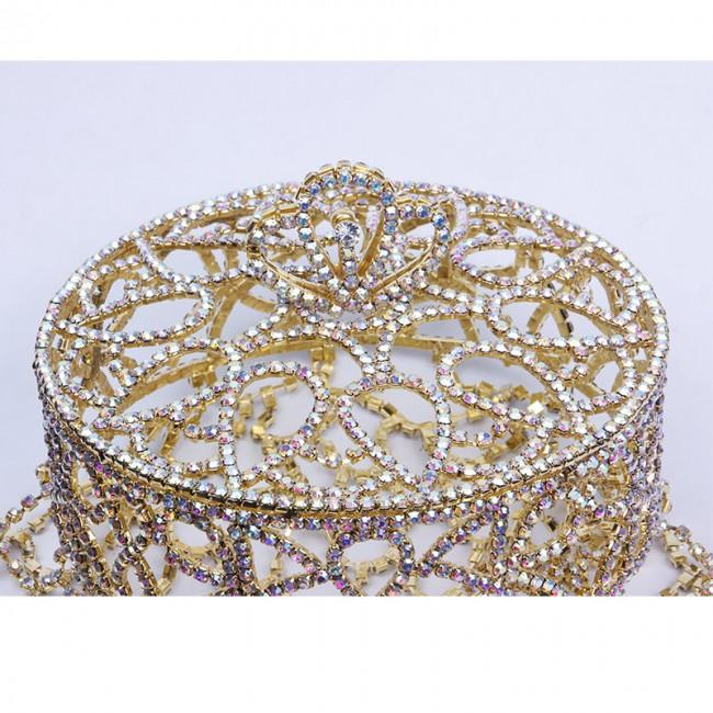Luxury Customed Round Large Crystal Crown Tiara for women Wedding Headpiece Rhinestone bridal crown handmade Tiaras Hair Jewelry