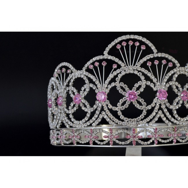 Miss Teen Crown Pink Colour Stone Rhinestone Crystal Adjustable Headband Bridal Wedding Hair Jewelry Tiaras For Pageant Queen
