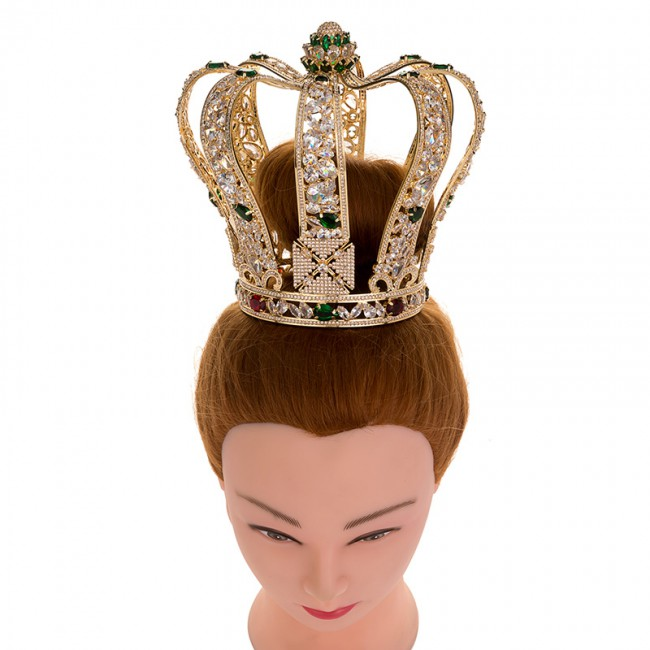 Luxury Baroque Full Cubic Zinconia Crown Elegant Wedding Party Jewelry Tiara Queen Accessories Crowns Wholesale