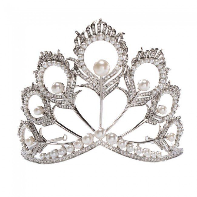 Miss Universe Crown Pearl Rhinestone Tiara Pageant Queen Crown Wedding Hair Jewelry