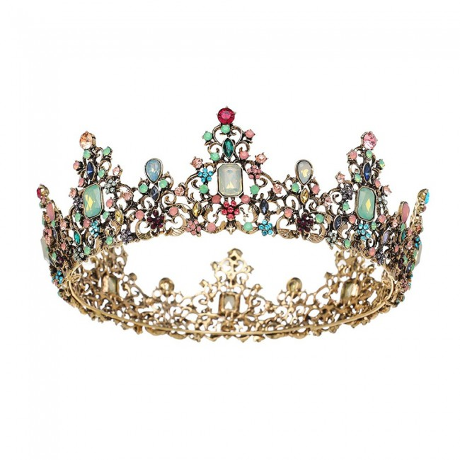 Jeweled Baroque Queen Crown Rhinestone Wedding Crowns and Tiaras for Women Costume Party Hair Accessories with Gemstones
