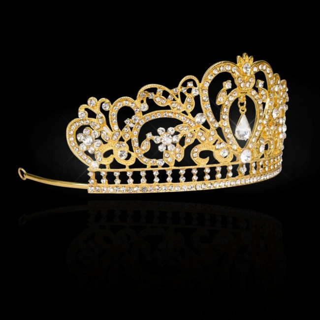 Luxury Bling Crystal Bridal Headband Prom Queen Pageant Princess Crown Hair Accessories for Women