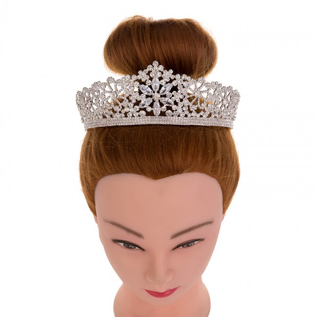 Elegant Leaf Crown Women'S Jewelry Copper Tiara For Girls Wedding Hair Accessories
