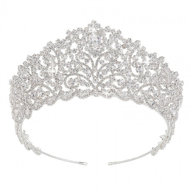 Big Wedding Bride Crown Elegant Hair Tiaras Bridal Jewelry Crowns Party Hair Accessories