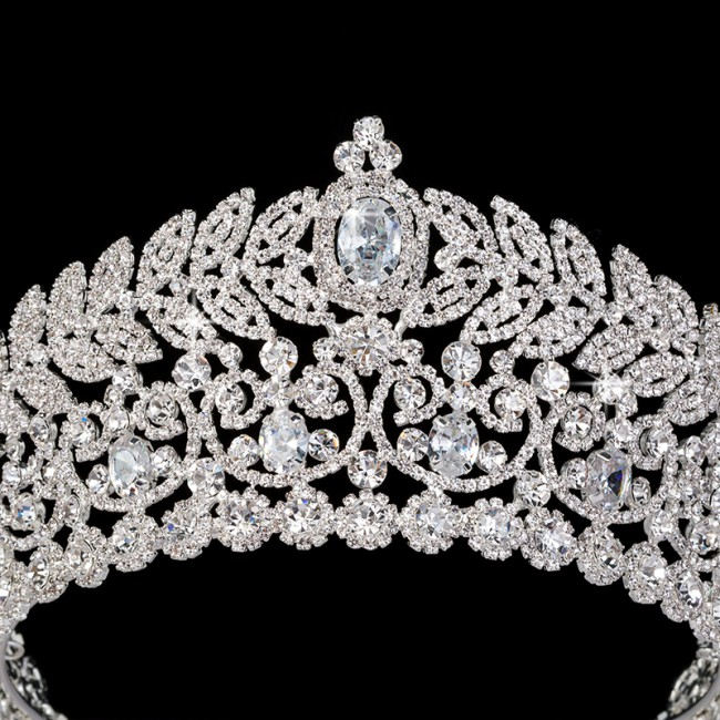 Gorgeous Wedding Tiara Crown Jewelry Diadem Shiny Bridal Big Queen Tiaras Elegant Hair Accessories Floral Crowns
