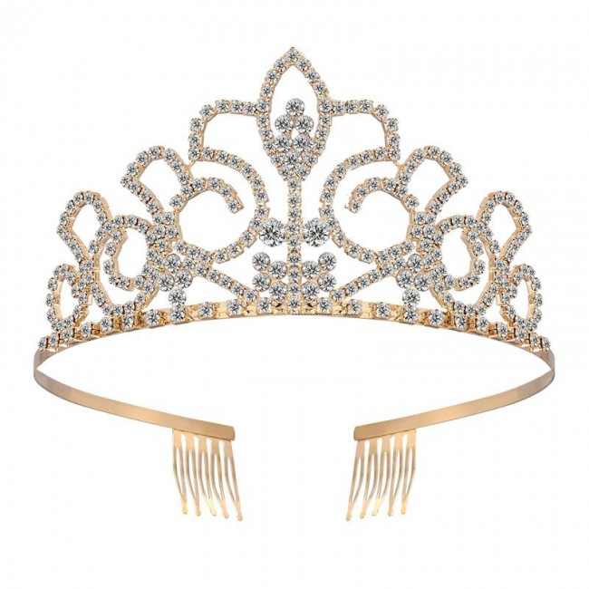 Bridal Tiara Crystal Rhinestones Tiara Crown with Comb Wedding Tiara Headband