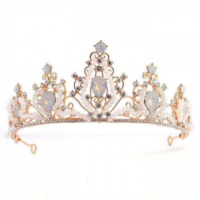Beauty Fashion Crystal Bead Rhinestone Bridal Crown and Tiaras Luxury Wedding Bride Coronal Headpiece Accessory for Women
