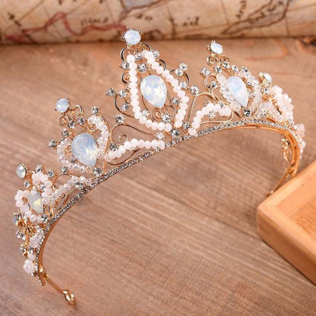 Beauty Fashion Crystal Bead Rhinestone Bridal Crown and Tiaras Luxury Wedding Bride Coronal Headpiece Accessory for Women