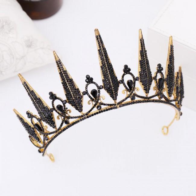 Women Bride Wedding Hair Jewelry Baroque Style Black Crystal Tiaras and Crowns Headpieces Headbands