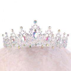 Silver Color Rhinestone Crystal Tiara Crown Headpiece Bridal Head Jewelry Women Wedding Hair Accessories
