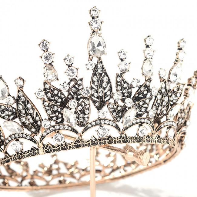 Retro Baroque Style Crystal Tiaras Crowns Black Royal Diadem for Princess Bride Wedding Hair Ornaments