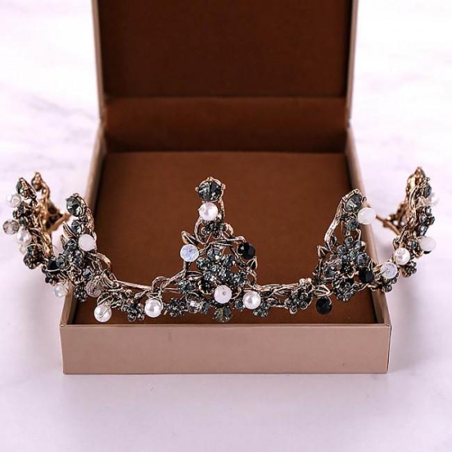 Baroque Bride Wedding Hair Jewelry Accessories Vintage Black Crystal Beads Pearls Bridal Tiaras