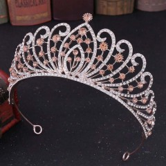 Vintage Baroque Rose Crystal Tiaras Crowns Princess Diadem Bridal Wedding Party