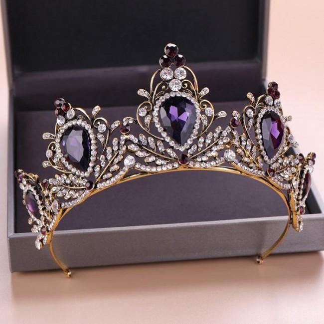 Retro Princess Diadem Purple Color Crystal Tiaras Crowns Headband Bride Wedding Party Hair Jewelry Headpieces