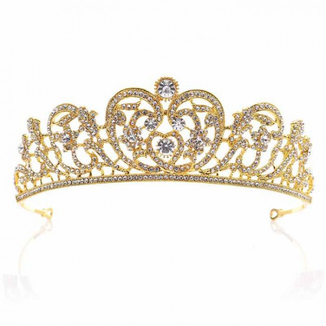 Baroque Rhinestone Crystal Big Bridal Tiaras Crown Diadem Jewelry Bride Wedding Hair Accessories