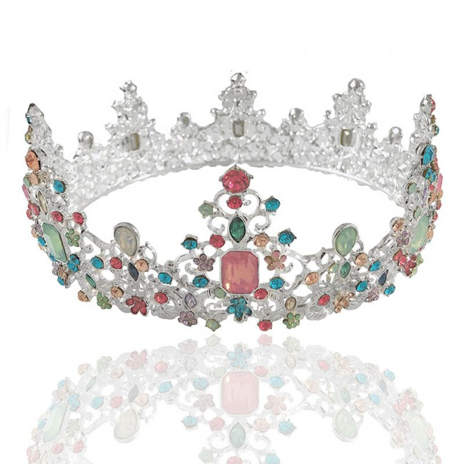 Retro Baroque Style Colorful Shining Crystal Tiaras Crowns Princess Diadem Bride Wedding Headbands