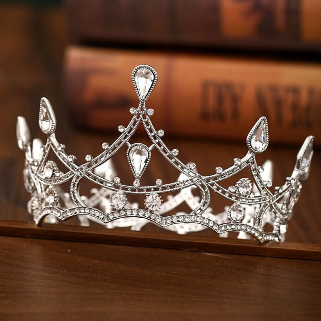 Retro Baroque Style Silver Color Crystal Tiara Crowns Headbands