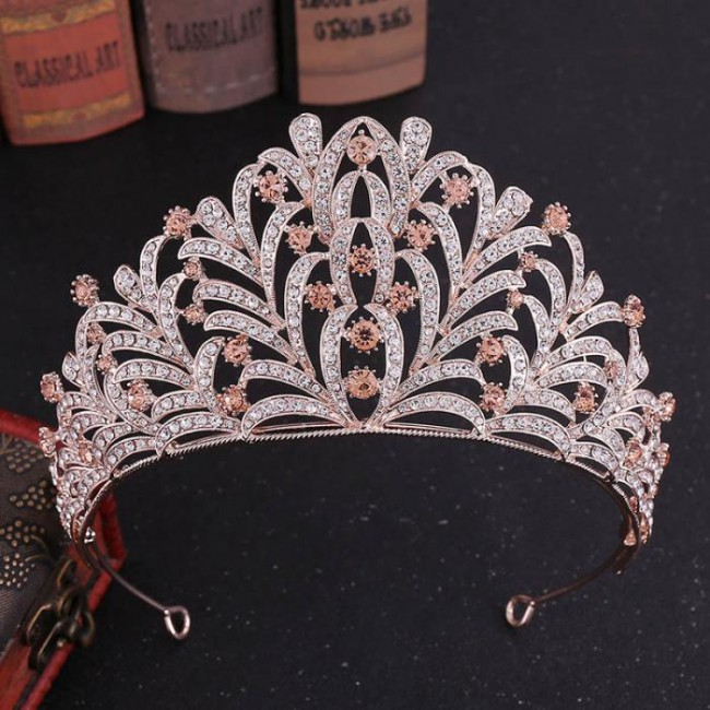 High Quality Women Girl Leaves Crystal Royal Tiaras Crowns Bride Bridal Wedding Hair Accessories Headpieces
