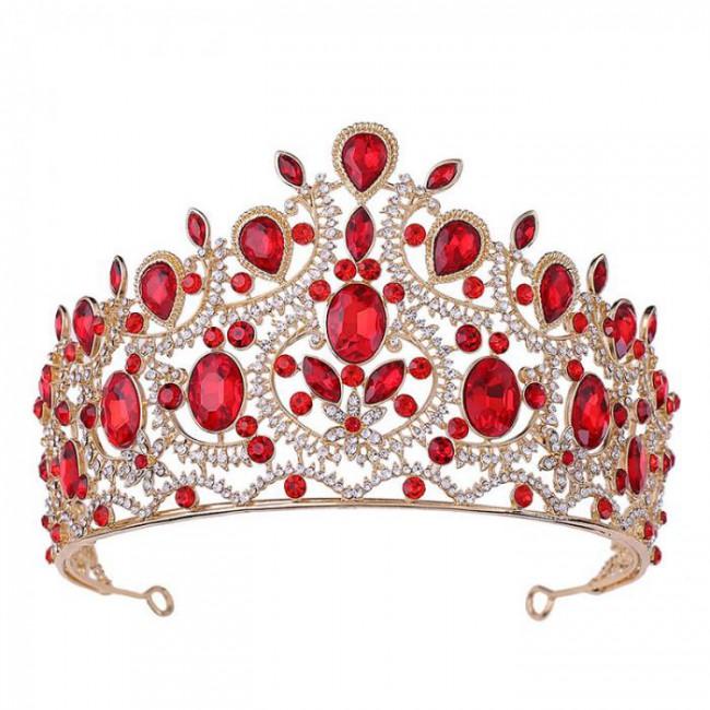 High Fashion Delicate Vintage Baroque Style Shining Crystal Big Tiaras Crowns Bride Wedding Party Hair Accessories