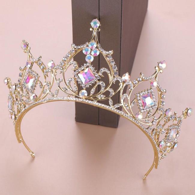 Retro Baroque Round Gold Crystal Tiara Crowns Diadem for Girl Queen Bride Bridal Wedding Hair Jewelry Headpieces
