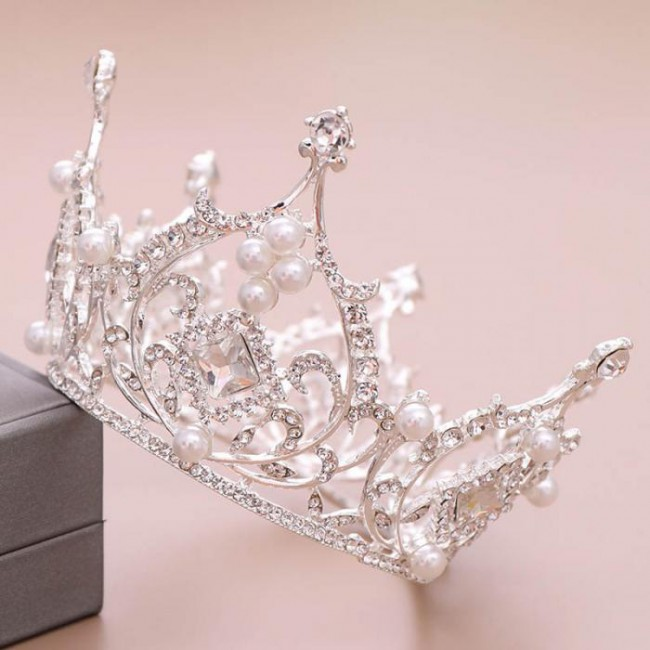 Full Round Crystal Pearls Tiaras and Crowns Bride Wedding Party Hair Jewelry Accessories Headbands