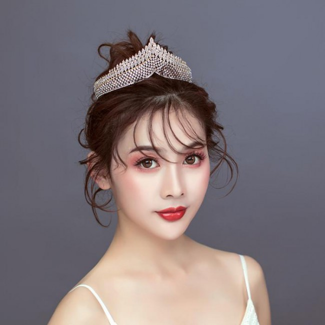 Fashion Style Luxury Retro Rhinestone Royal Princess Tiara Crown Headband Bride Noiva Wedding Party Hair Accessories
